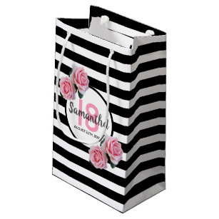 18th Birthday Chic Pink Roses Black White Stripes Small Gift Bag