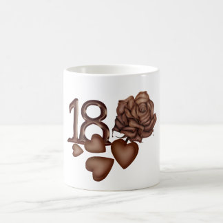 18th birthday chocolate numbers, hearts and rose coffee mug
