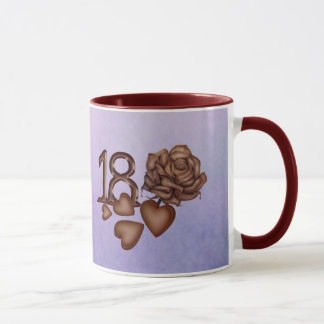 18th birthday chocolate numbers, hearts and rose mug