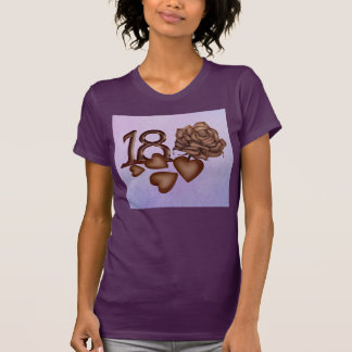 18th birthday chocolate numbers, hearts and rose T-Shirt