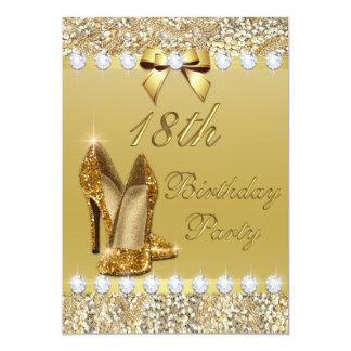 18th Birthday Classy Gold Heels Sequins Diamonds Card
