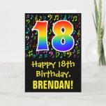 [ Thumbnail: 18th Birthday: Colorful Music Symbols + Rainbow 18 Card ]