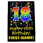 [ Thumbnail: 18th Birthday: Colorful Stars Pattern & Rainbow 18 Gift Bag ]