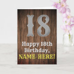 [ Thumbnail: 18th Birthday: Country Western Inspired Look, Name Card ]