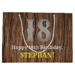 [ Thumbnail: 18th Birthday: Country Western Inspired Look, Name Gift Bag ]