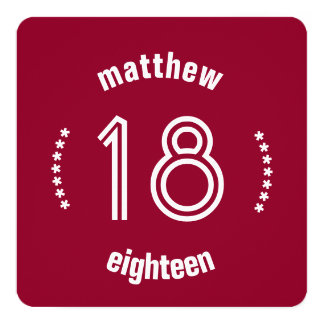 18th Birthday Curved Text and Stars Red White S03 Card