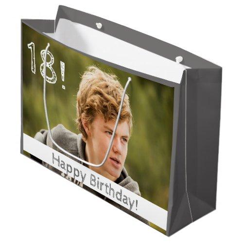 18th birthday custom photo boy guy large gift bag