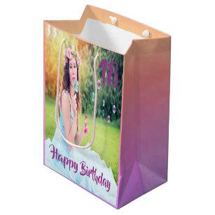 18th Birthday Custom Photo Gift Bag Purple