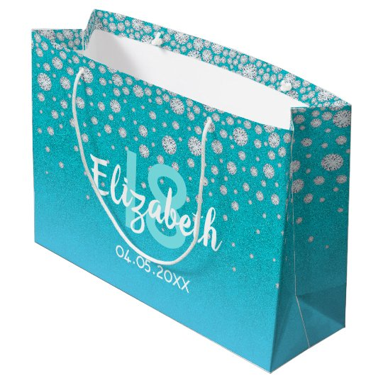 18th Birthday Diamonds Glitter On Teal Blue Green Large Gift Bag
