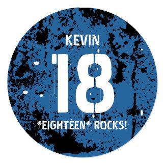18th Birthday Eighteen Rocks BLUE Grunge F18Z Card
