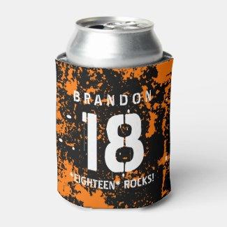 18th Birthday Eighteen Rocks ORANGE Grunge F18Z7 Can Cooler