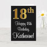[ Thumbnail: 18th Birthday ~ Elegant Luxurious Faux Gold Look # Card ]