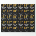 [ Thumbnail: 18th Birthday: Elegant Luxurious Faux Gold Look # Wrapping Paper ]
