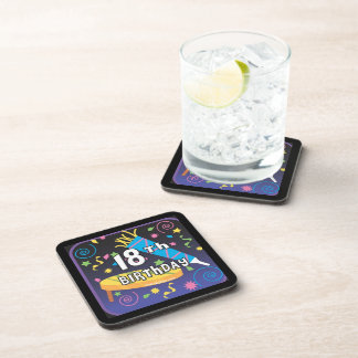 18th Birthday Favors Beverage Coasters