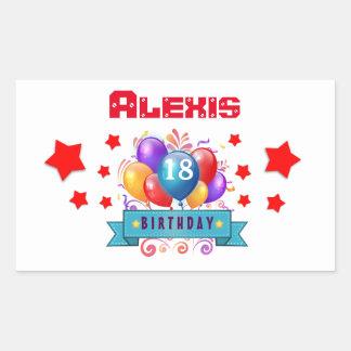 18th Birthday Festive Colorful Balloons V10HZ Rectangular Sticker