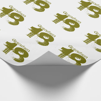 18th birthday for a grandson, green on white. wrapping paper