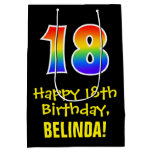 "[ Thumbnail: 18th Birthday: Fun, Bold, Colorful, Rainbow ""18"" Gift Bag ]"