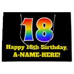 [ Thumbnail: 18th Birthday ~ Fun, Colorful, Vibrant, Rainbow 18 Gift Bag ]