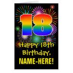 [ Thumbnail: 18th Birthday: Fun Fireworks Pattern & Rainbow 18 Card ]