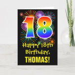 [ Thumbnail: 18th Birthday: Fun Fireworks Pattern + Rainbow 18 Card ]