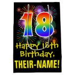[ Thumbnail: 18th Birthday: Fun Fireworks Pattern + Rainbow 18 Gift Bag ]