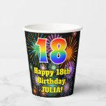 [ Thumbnail: 18th Birthday: Fun Fireworks Pattern + Rainbow 18 ]