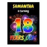 "[ Thumbnail: 18th Birthday - Fun Fireworks, Rainbow Look ""18"" Postcard ]"