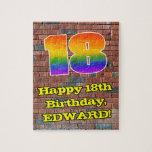 [ Thumbnail: 18th Birthday: Fun Graffiti-Inspired Rainbow 18 Jigsaw Puzzle ]