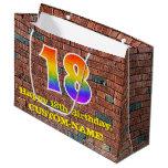 [ Thumbnail: 18th Birthday: Fun, Graffiti-Inspired Rainbow # 18 Gift Bag ]