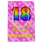 [ Thumbnail: 18th Birthday: Fun Pink Hearts Stripes; Rainbow 18 Gift Bag ]