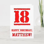 [ Thumbnail: 18th Birthday: Fun, Red Rubber Stamp Inspired Look Card ]