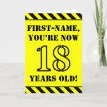[ Thumbnail: 18th Birthday: Fun Stencil Style Text, Custom Name Card ]