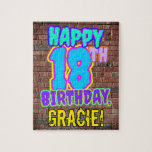 [ Thumbnail: 18th Birthday ~ Fun, Urban Graffiti Inspired Look Jigsaw Puzzle ]