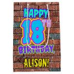 [ Thumbnail: 18th Birthday: Fun, Urban Graffiti Inspired Look Gift Bag ]
