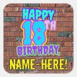 [ Thumbnail: 18th Birthday – Fun, Urban Graffiti Inspired Look Sticker ]