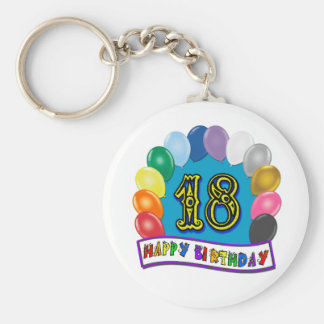 18th Birthday Gifts with Assorted Balloons Design Basic Round Button Keychain
