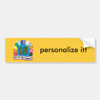 18th Birthday Gifts with Assorted Balloons Design Bumper Sticker