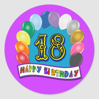 18th Birthday Gifts with Assorted Balloons Design Classic Round Sticker