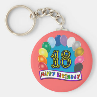 18th Birthday Gifts with Assorted Balloons Design Keychain