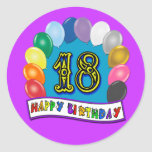 18th Birthday Gifts with Assorted Balloons Design Round Stickers