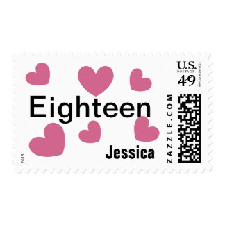 18th Birthday Girl 18 Years with Hearts PINK V18 Stamp