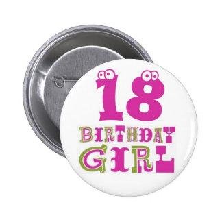 18th Birthday Girl Button Badge