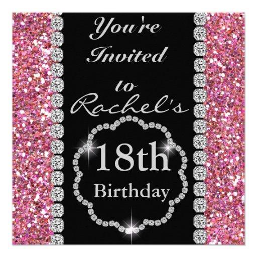 """18th Birthday GLAM Invitation 5.25"""" Square Invitation Card ..."""