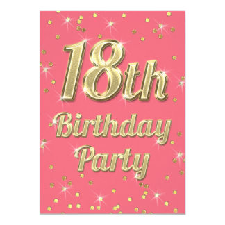 18th Birthday Gold Bling Typography Confetti Pink Card