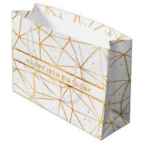 18th birthday gold geometrical pattern on white large gift bag