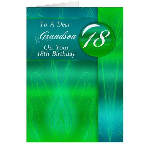 18th Birthday Grandson Modern Greeting Card