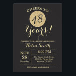 """18th Birthday Invitation Black and Gold Glitter<br><div class=""""desc"""">18th Birthday Invitation Black and Gold Glitter Card. For further customization,  please click the """"Customize it"""" button and use our design tool to modify this template.</div>"""