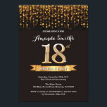 """18th Birthday Invitation Black and Gold Glitter<br><div class=""""desc"""">18th Birthday Invitation. Black and Gold Glitter. Adult Birthday Party Invite. Women or Men Bday Bash. For further customization,  please click the """"Customize it"""" button and use our design tool to modify this template.</div>"""