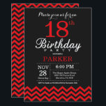 """18th Birthday Invitation Black and Red<br><div class=""""desc"""">18th Birthday Invitation with Black and Red Chevron. Black and White. Adult Birthday. Man or Women Bday Invite. For further customization,  please click the """"Customize it"""" button and use our design tool to modify this template.</div>"""