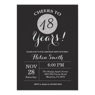 18th Birthday Invitation Black And Silver Glitter